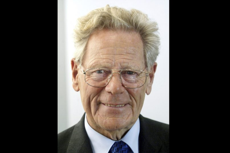 In this Oct. 6, 2004, file photo, Hans Küng attends the Book Fair in Frankfurt, Germany. Küng, the Roman Catholic theologian who was an early colleague and friend of the future Pope Benedict XVI but later fell afoul of the Vatican for challenging church doctrine and became a vocal critic of the pontiff, has died. He was 93. (AP Photo/Michael Probst, File)