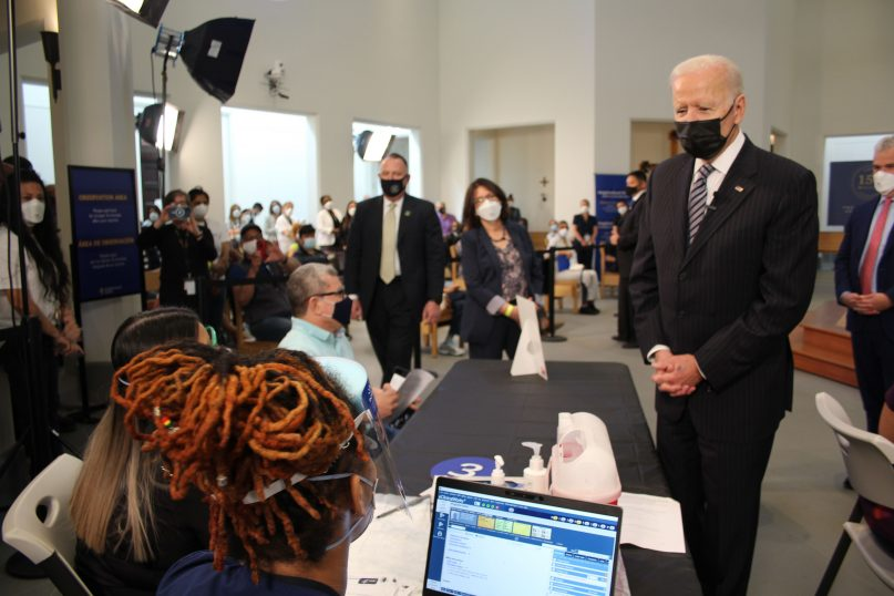 President Joe Biden visited the Virginia Theological Seminary on April 6, 2021, to celebrate the seminary's provision of COVID-19 vaccines. Photo by Elizabeth Panox-Leach, Virginia Theological Seminary