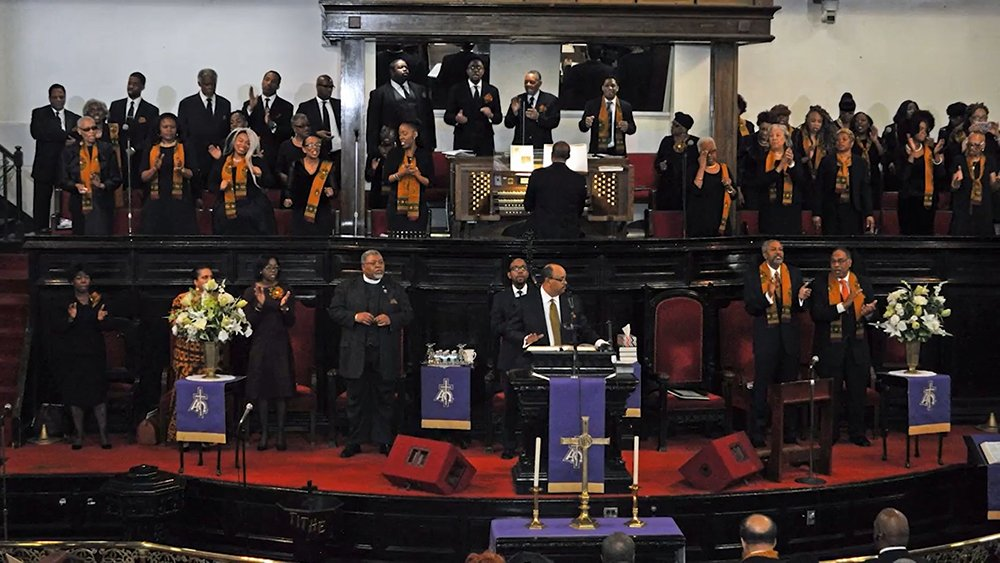 Bridge Street AME Church in Brooklyn, New York. Video screengrab
