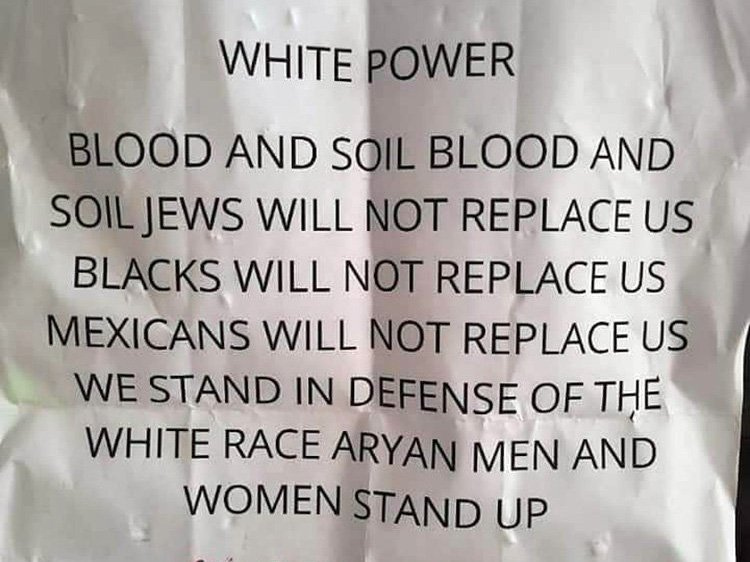 A photo of an antisemitic flyer stuffed into some mailboxes in Lexington, Kentucky, neighborhoods in late 2020. Photo courtesy of Rabbi Shlomo Litvin
