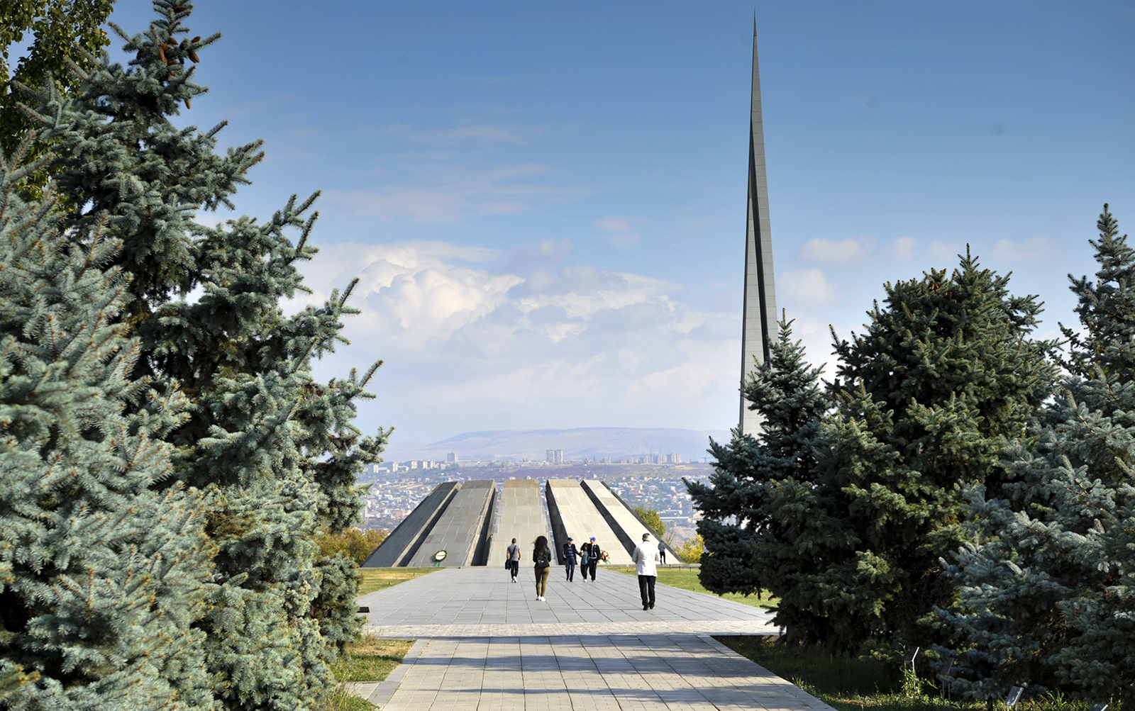 A view of the Tsitsernakaberd Armenian Genocide Memorial Complex, a memorial to the victims of mass killings by Ottoman Turks during World War I, in the Armenian capital Yerevan, Armenia, Oct. 30, 2019. (AP Photo/Hakob Berberyan)