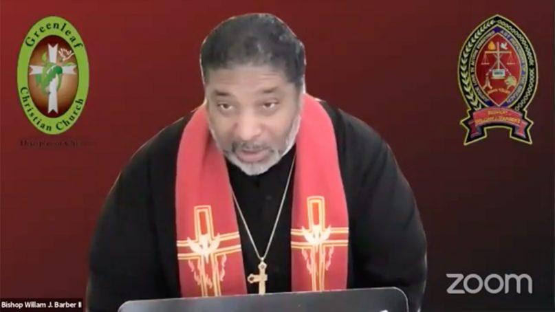 "The Rev. William Barber II speaks during a virtual Easter vigil service April 3, 2021, titled ""Easter in Jerusalem: The Sabeel Community Celebrates Holy Saturday 2021,"" led by a Christian activist group in Jerusalem. Video screengrab"