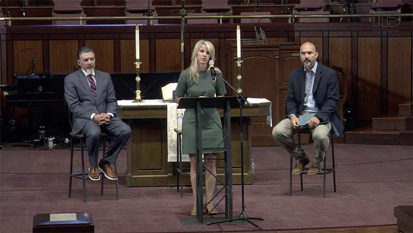 From left, the Rev. Jody Ray; Casey Alarcon, chair of the Mount Bethel United Methodist Church Staff Parish Relations Committee; and Rustin Parsons, lay leader of Mount Bethel, during a news conference April 26, 2021. Video screen grab
