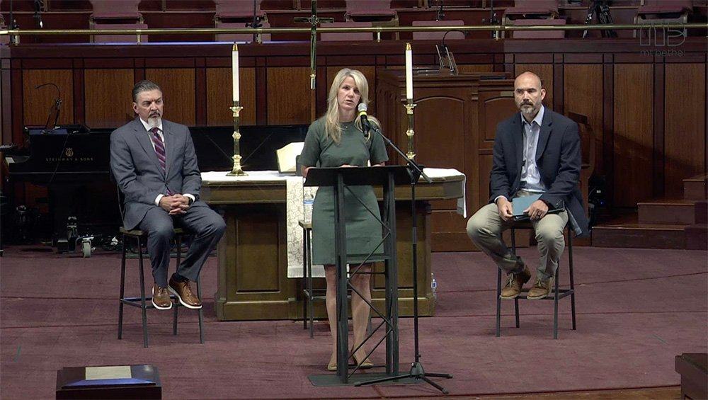 The Rev. Jody Ray, from left, Casey Alarcon, chair of the Mt. Bethel UMC Staff Parish Relations Committee, and Rustin Parsons, lay leader of Mt. Bethel during a press conference Monday, April 26, 2021. Video screengrab