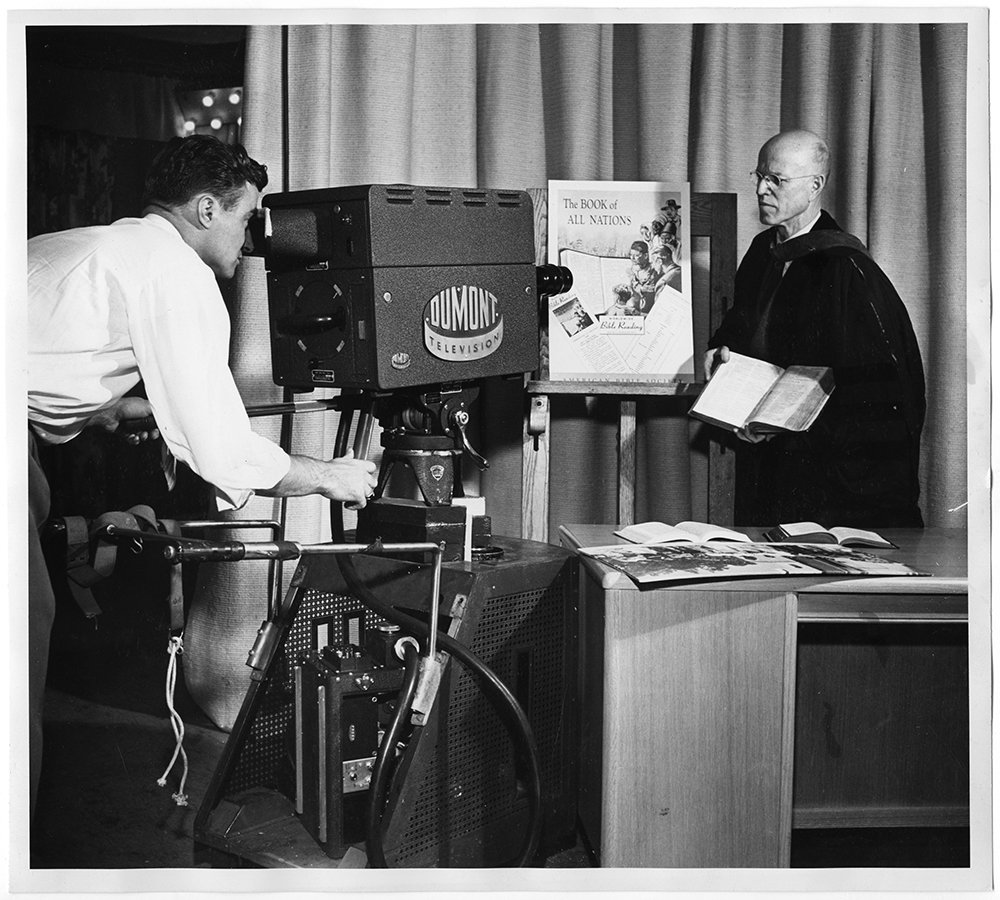 Dr. Francis C. Stifler during a television program which inaugurated the Worldwide Bible Reading program in 1948. RNS archive photo. Photo courtesy of the Presbyterian Historical Society.