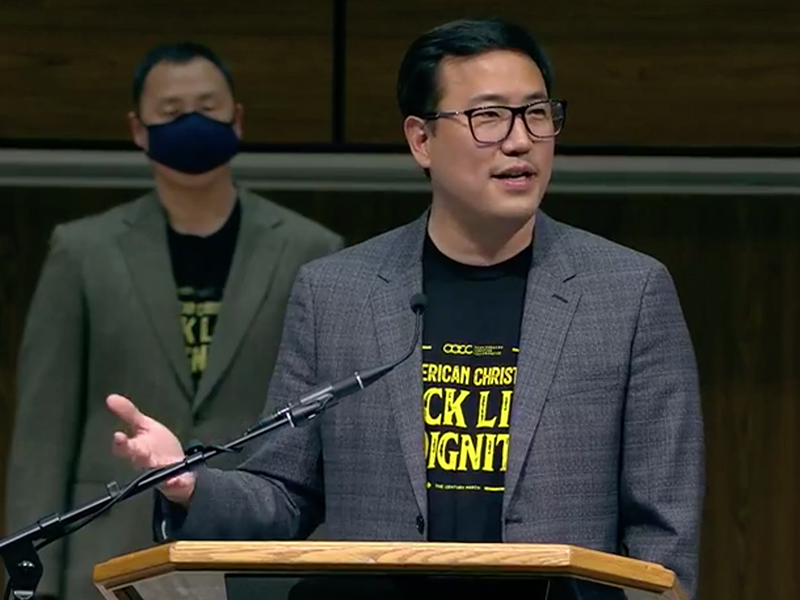 Pastor Raymond Chang, president of the Asian American Christian Collaborative, speaks during a panel titled Black & Asian Christians United Against Racism, livestreamed Monday, April 5, 2021, from Apostolic Faith Church in Chicago. Video screengrab
