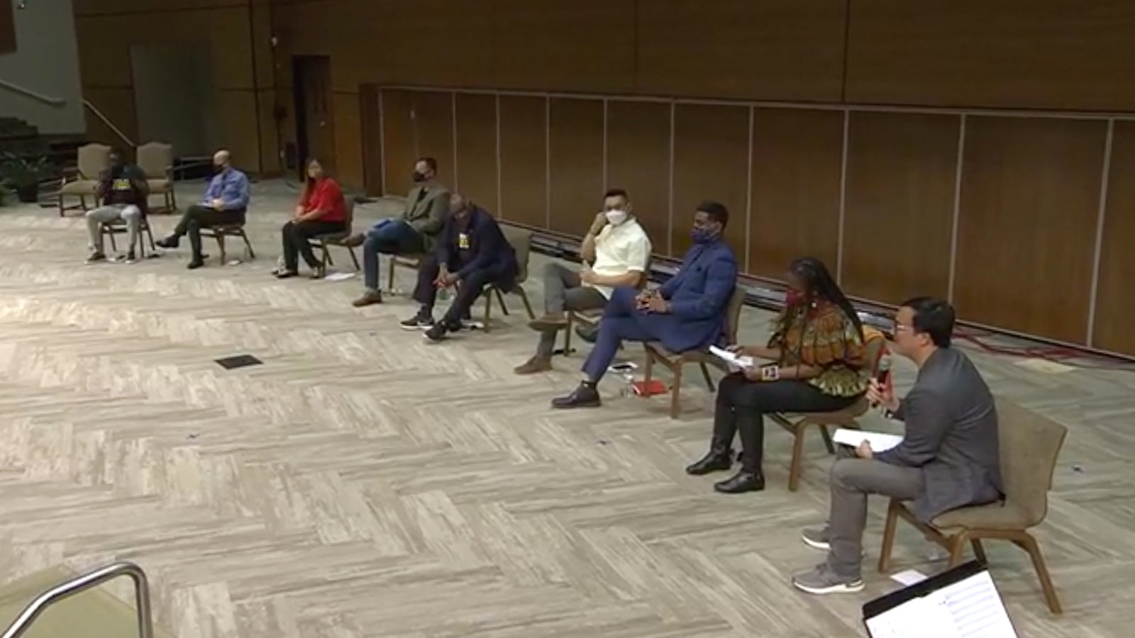 A panel is livestreamed Monday, April 5, 2021, from Apostolic Faith Church in Chicago. Video screengrab