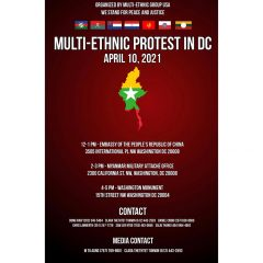 A protest is scheduled for Saturday in Washington D.C. to speak out against continued violence in Myanmar.
