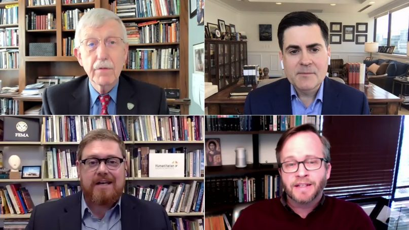 """National Institutes of Health director Francis Collins, clockwise from top left, Southern Baptist ethicist Russell Moore, Christianity Today President Timothy Dalrymple and Jamie Aten, co-director of Wheaton College's Humanitarian Disaster Institute, participate in a webinar called """"Evangelicals & COVID-19 Vaccine"""" on Tuesday, April 27, 2021. Video screengrabs"""