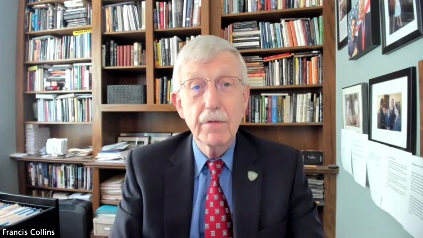 """National Institutes of Health director Francis Collins participates in a webinar called """"Evangelicals & COVID-19 Vaccine"""" on Tuesday, April 27, 2021. Video screengrab"""