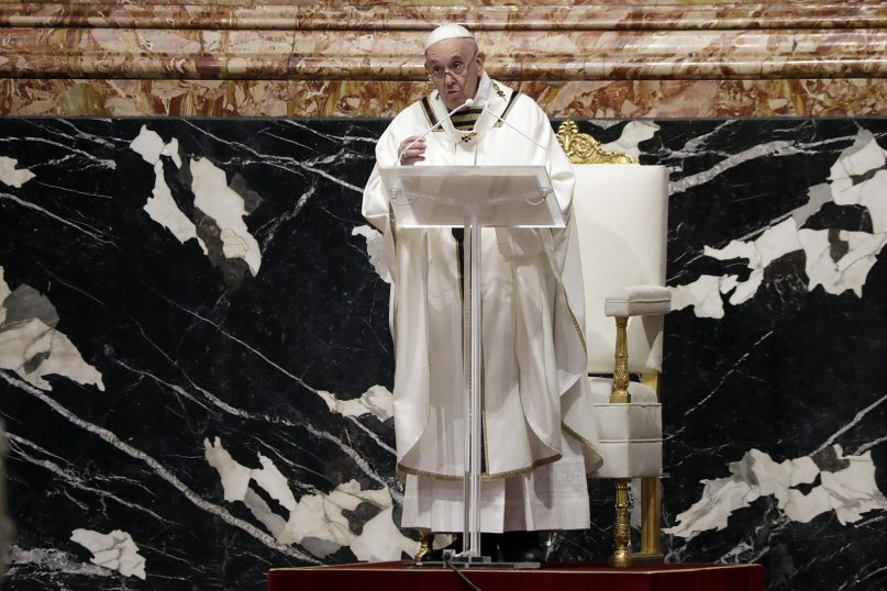 Pope Francis preaches during a Chrism Mass inside St. Peter's Basilica, at the Vatican, April 1, 2021. During the Mass the pontiff blesses a token amount of oil that will be used to administer the sacraments for the year. (AP Photo/Andrew Medichini)