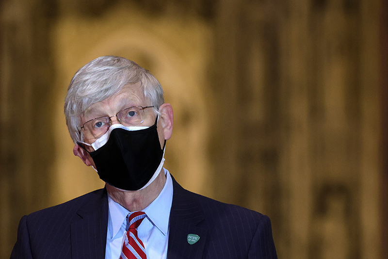 WASHINGTON, DC - MARCH 16: National Institutes of Health Director Dr. Francis Collins speaks during a public vaccination event at Washington National Cathedral March 16, 2021 in Washington, DC. The Washington National Cathedral hosted the public vaccination event to help demonstrate trust by faith leaders of all denominations in the COVID-19 vaccines and encourage Americans, especially communities who are at higher risk of severe COVID-19 disease, and those who remain vaccine-hesitant. (Photo by Alex Wong/Getty Images)