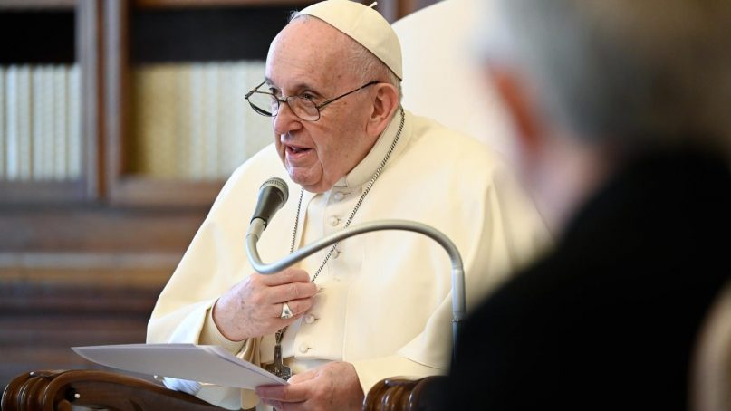 Pope Francis addressed an online symposium on sexual abuse. Photo by Vatican Media