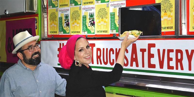#TacoTrucksatEveryMosque co-founders Benjamin Vazquez, left, and Rida Hamida during a taco event. Photo courtesy of Latino & Muslim Unity
