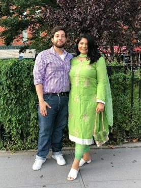 Jesus Gutierrez, left, and Rabita Tareque dressed up to celebrate Eid-ul-Fitr with their family in New York in 2019. Courtesy photo