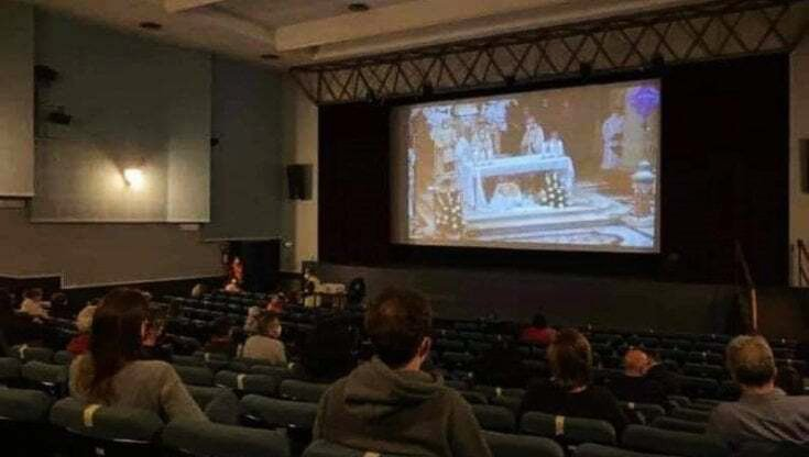 A movie theater opened its doors for the broadcasting of Easter services, receiving blowback from the community, frustrated that the theater is otherwise closed due to COVID-19. Photo courtesy of Church of St. John the Baptist in Modena, Italy