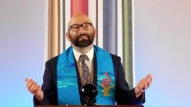The Rev. Jason Lydon speaks during a virtual Passover service of Second Unitarian Church of Chicago on March 28, 2021. Video screengrab