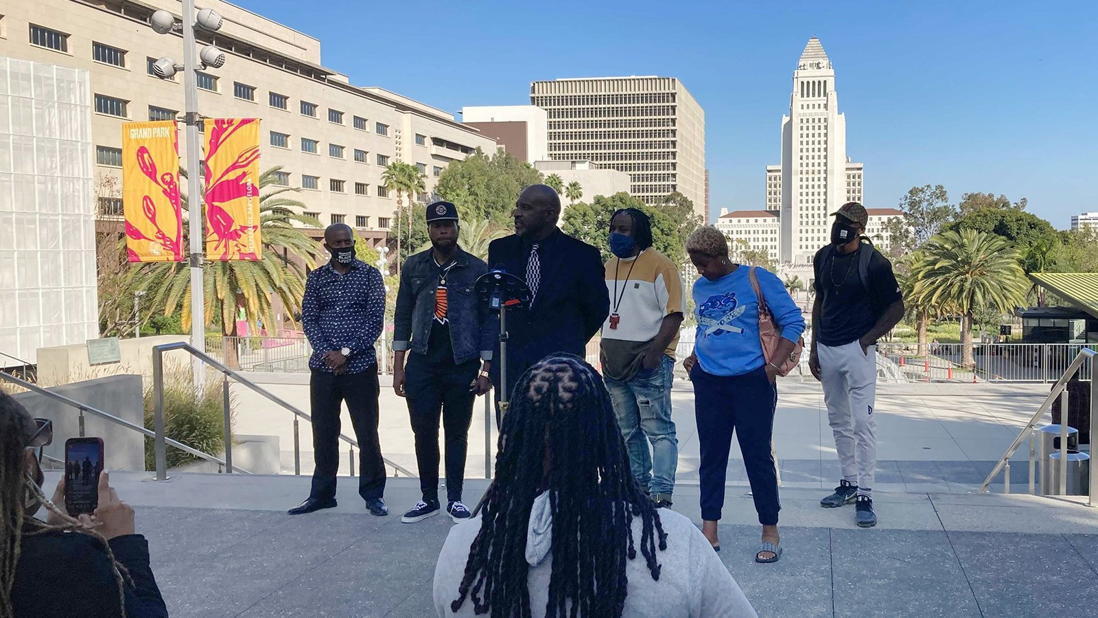 A small group of faith leaders gather at Grand Park, the scene of last summer's Black Lives Matter protests in downtown Los Angeles, to celebrate the guilty verdicts in Derek Chauvin's murder trial, Tuesday, April 20, 2021. RNS photo by Alejandra Molina