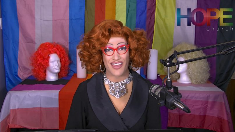 Ms. Penny Cost delivers a message during the Hope United Methodist Church virtual service in Bloomington, Illinois, on April 11, 2021. Video screengrab