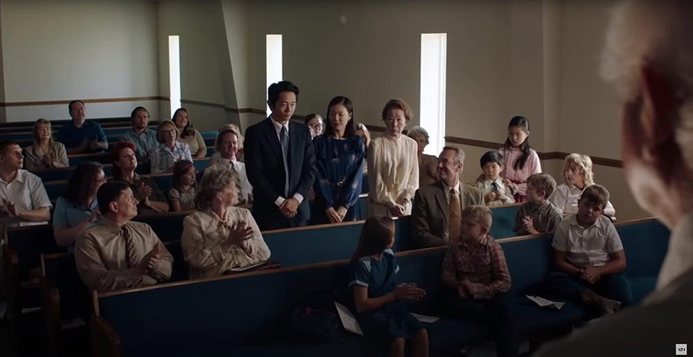 """A scene in a church in the film """"Minari."""" Photo courtesy of A24"""