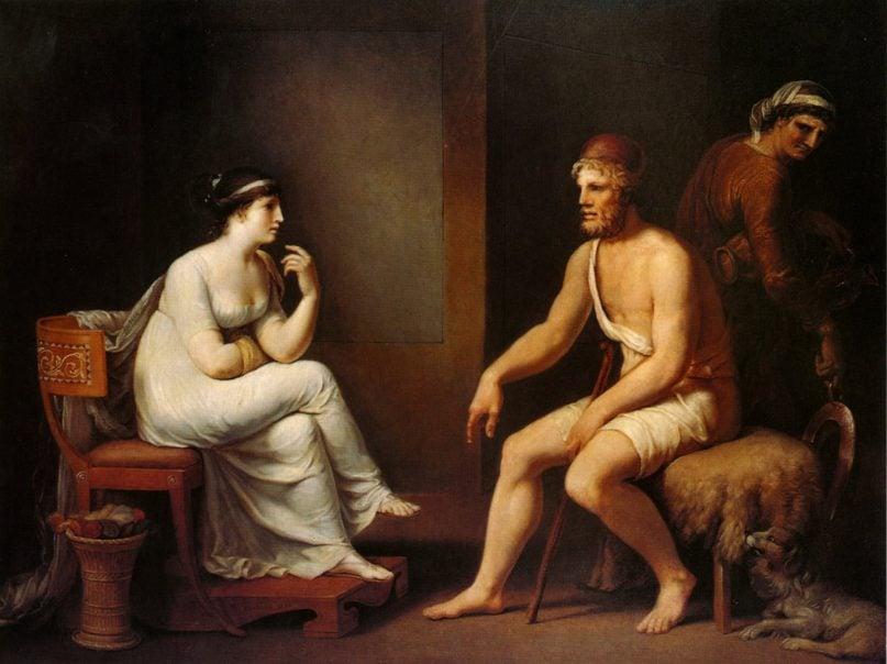 "Penelope and Odysseus in Homer's ""The Odyssey."" Painting by Johann Heinrich Wilhelm Tischbein, 1802"