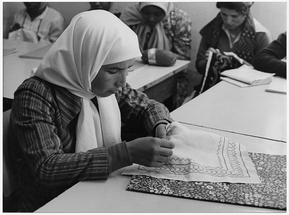 A young Palestinian woman does a needlework project at a World Council of Churches (WCC) home economics class in Beirut, Lebanon, in 1980. RNS archive photo. Photo courtesy of the Presbyterian Historical Society.