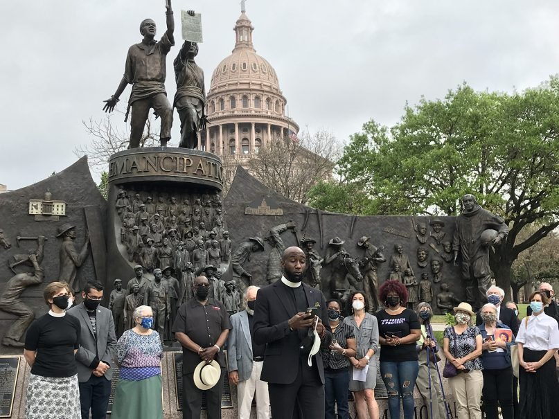Rev. Edwin Robinson, the organizer of Dallas Black Clergy speaks during the protest against proposed election legislation. Photo courtesy of Texas Impact
