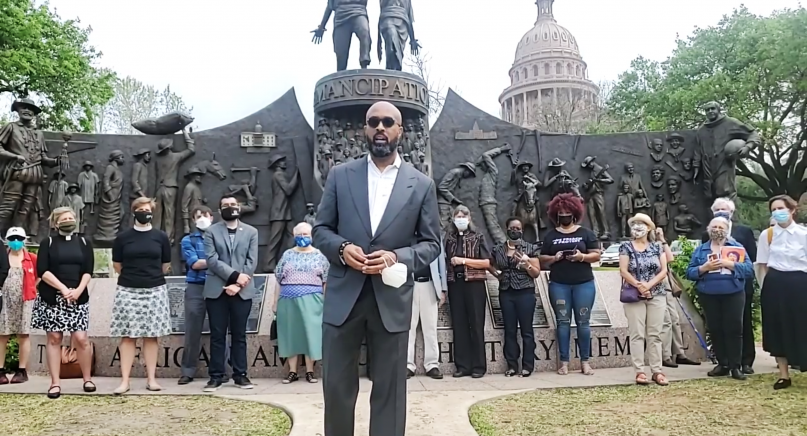 The Rev. Frederick Haynes III was one of several faith leaders to speak in opposition to proposed legislation affecting Texas elections. The group gathered April 7, 2021, in front of the Capitol in Austin and livestreamed their event for more to see. Screengrab from the Texas Impact Facebook Live