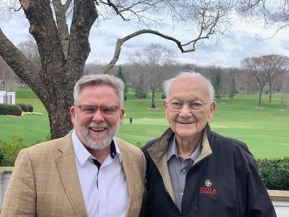 Jerry Pattengale, left, and Dr. Robert E. Cooley at Quail Hollow Country Club in Charlotte, North Carolina, on Feb. 26, 2020. Photo courtesy of Jerry Pattengale