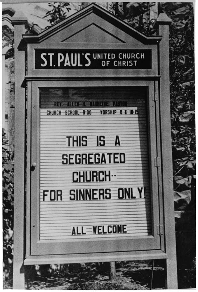 Passers-by at St. Paul's United Church of Christ in Piqua, Ohio, looked twice at the sign posted by the Rev. Allen Marheine in 1965. RNS archive photo. Photo courtesy of the Presbyterian Historical Society
