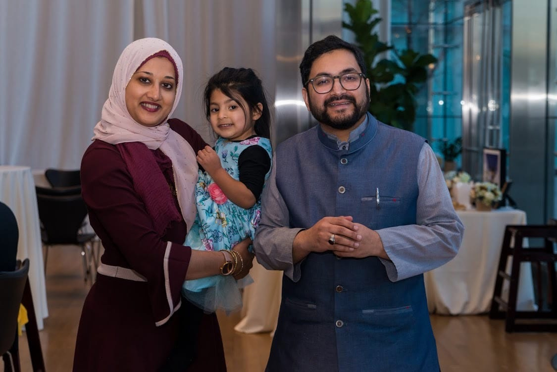 Imam Sohaib Sultan, right, with his wife, Arshe Ahmed, and daugher, Radiyya. Photo via LaunchGood