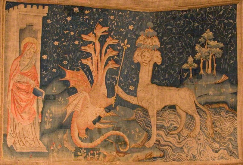 La Bête de la Mer, meaning The Beast of the Sea, by Kimon Berlin, is a medieval tapestry, which shows John, the Dragon and the Beast of the Sea. Image courtesy of Wikimedia Commons/Creative Commons