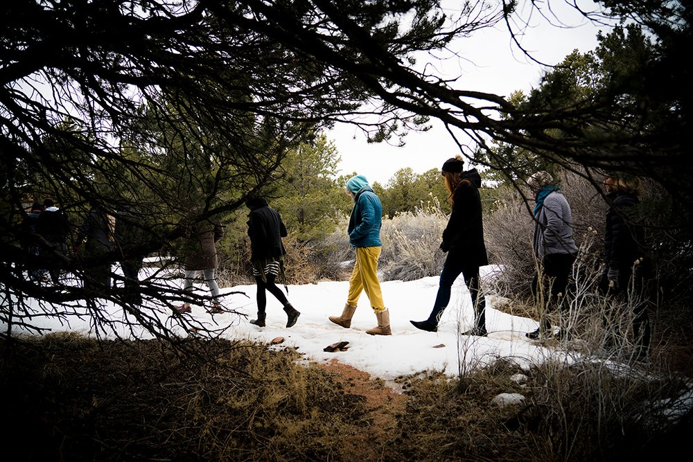 People participate in a walking meditation at Mountain Cloud Zen Center in Sante Fe, New Mexico. Photo by Genevieve Russell