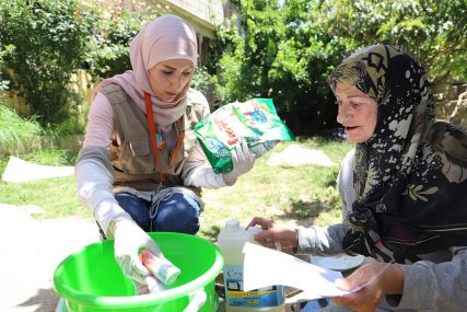 World Vision in Lebanon team distributing disinfectant kits to vulnerable Lebanese families in Bint Jbeil and Marjayioun (South of Lebanon), to slow the spread of the virus. Photo courtesy of World Vision