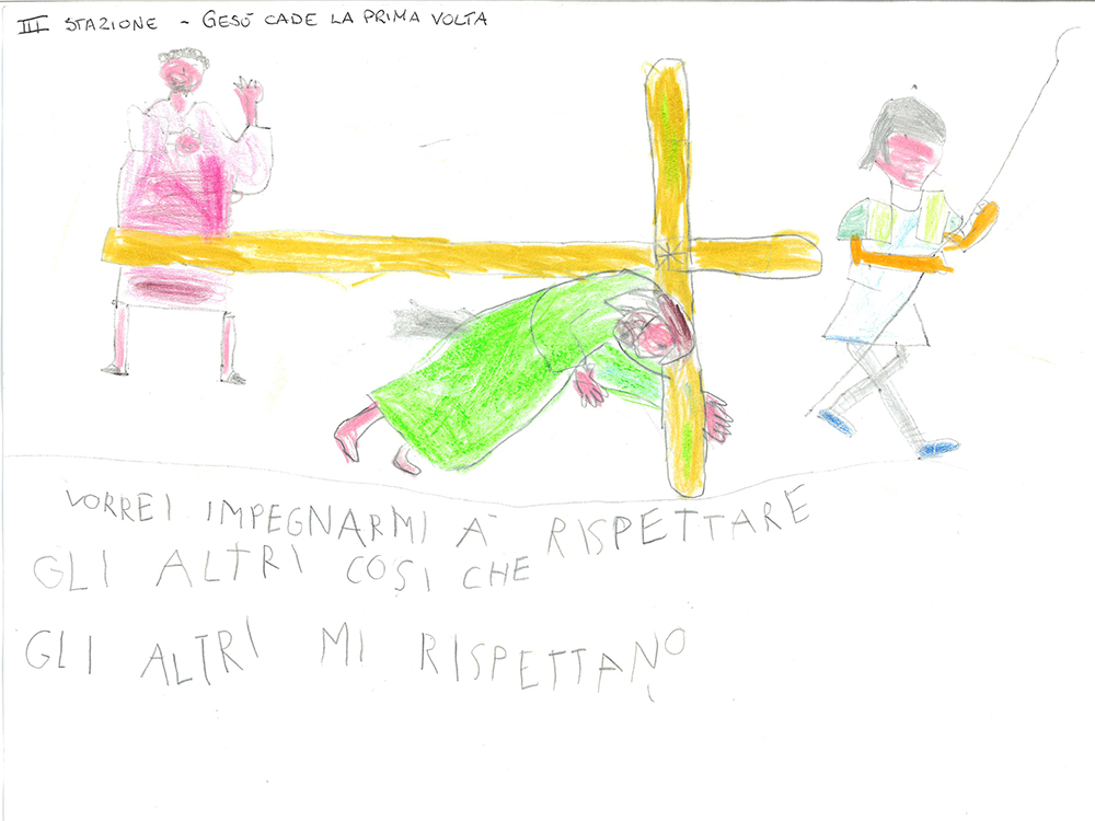 A child's drawing of the third station of the cross, when Jesus falls for the first time. Courtesy image