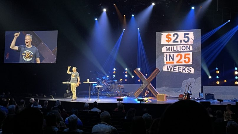 Crossroads pastor Brian Tome announces the church will give away $2.5 million to celebrate its 25th anniversary.