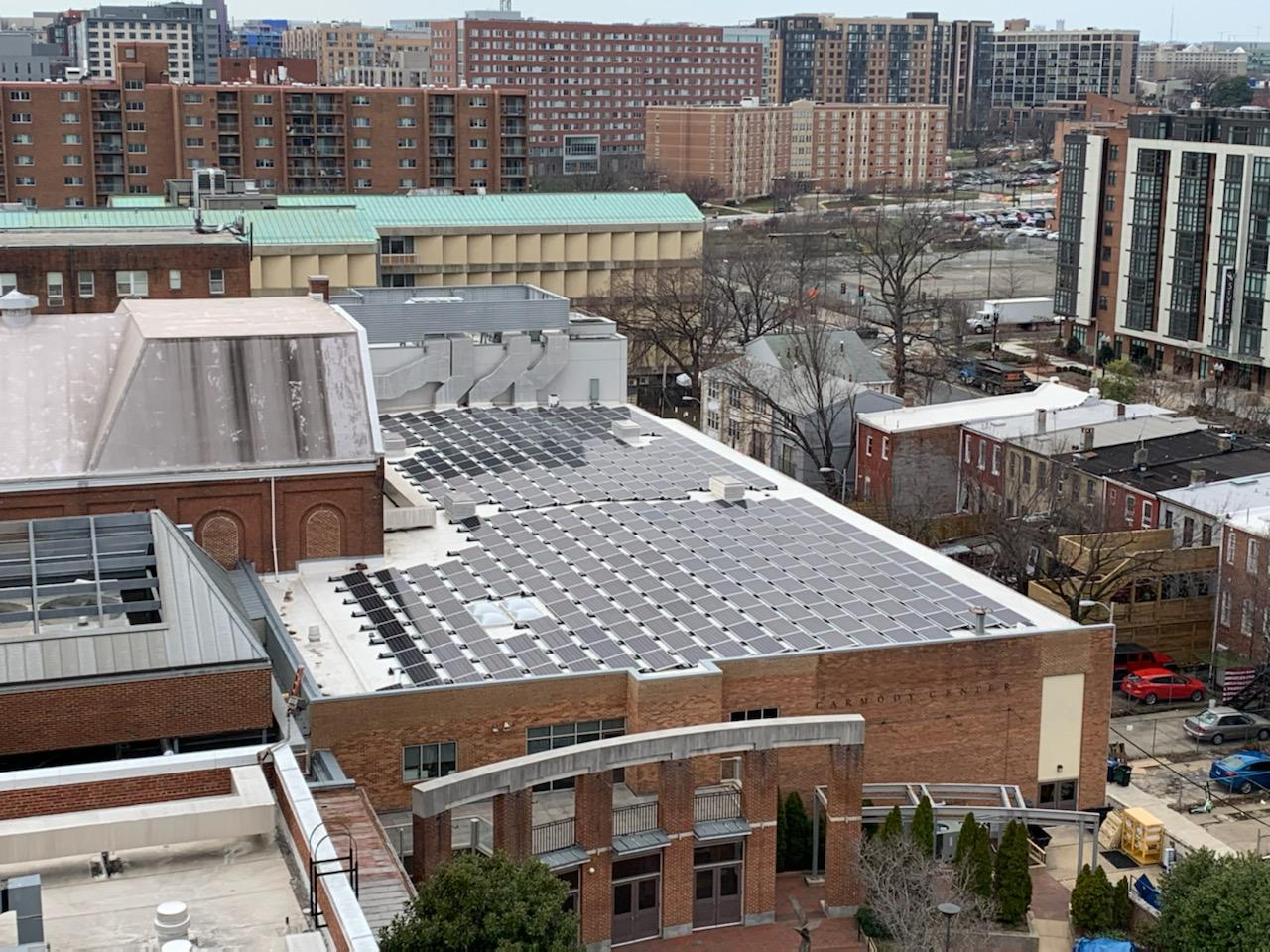 Solar panels on roof of Gonzaga College High School gym. Photo with permission of Gonzaga High School, March 2020