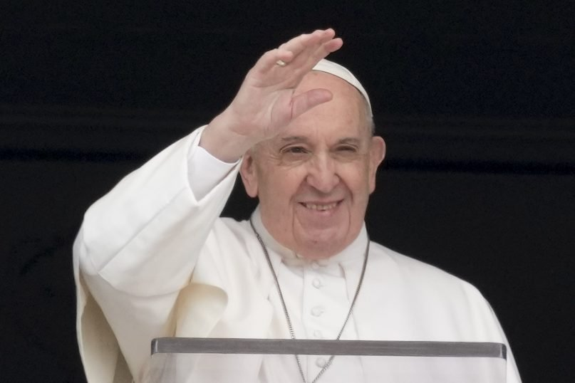 Pope Francis delivers his blessing as he recites the Angelus noon prayer from the window of his studio overlooking St.Peter's Square, at the Vatican on May 30, 2021. (AP Photo/Andrew Medichini)