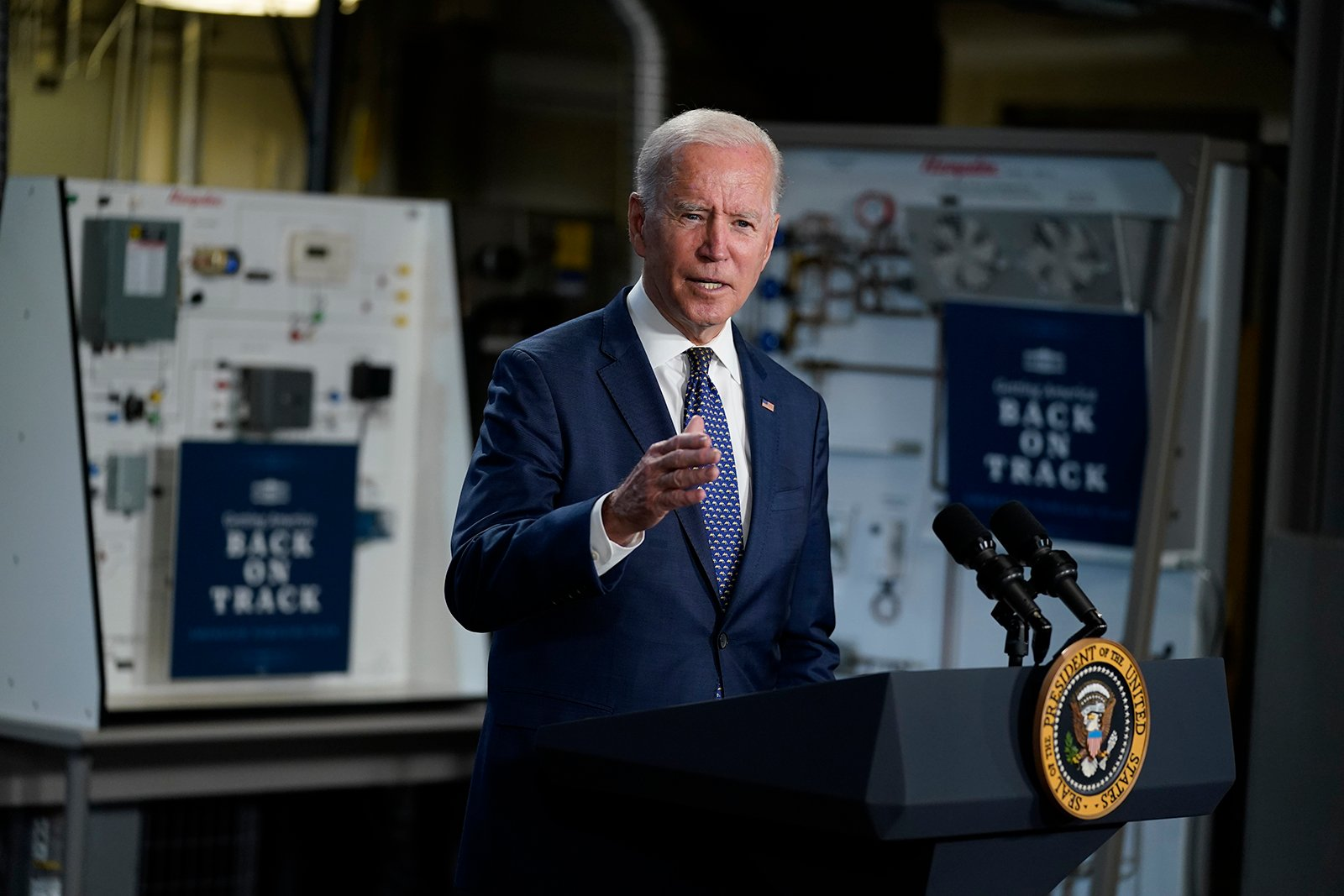 President Joe Biden speaks at Tidewater Community College, Monday, May 3, 2021, in Portsmouth, Va. (AP Photo/Evan Vucci)