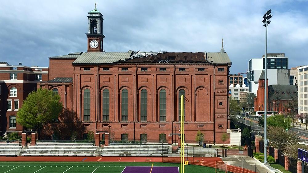 Damage to the roof of St. Aloysius Gonzaga Church in 2017 in Washington. Photo courtesy of Gonzaga High School