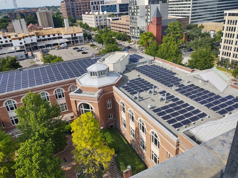 Solar panels on the roof of Gonzaga College High School in Washington, D.C., on May 17, 2021. Photo by the Rev. Stephen Planning