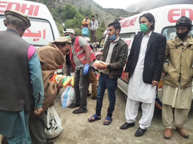 Edhi Foundation volunteers prepare for COVID-19 relief work in Gilgit, Pakistan. Photo courtesy of the Edhi Foundation
