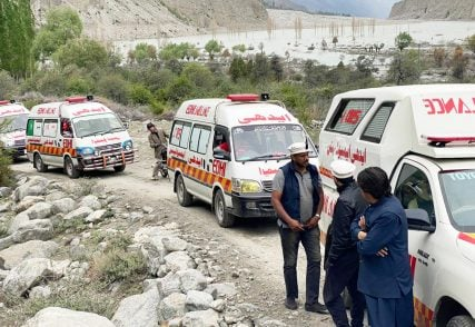 A convoy of Edhi Foundation ambulances parked along a road on their way to northern Pakistan for Covid-19 relief work. Photo courtesy of the Edhi Foundation