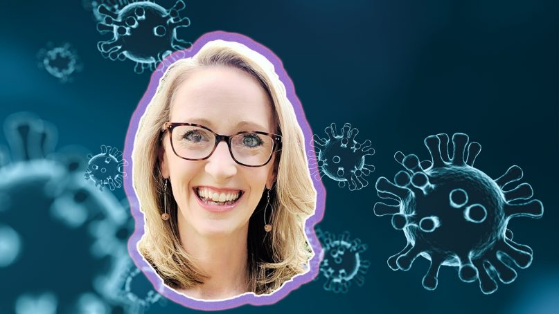Emily Smith is an epidemiologist married to a preacher, giving her a unique viewpoint on approaching vaccinations for evangelicals. RNS photo illustration by Kit Doyle