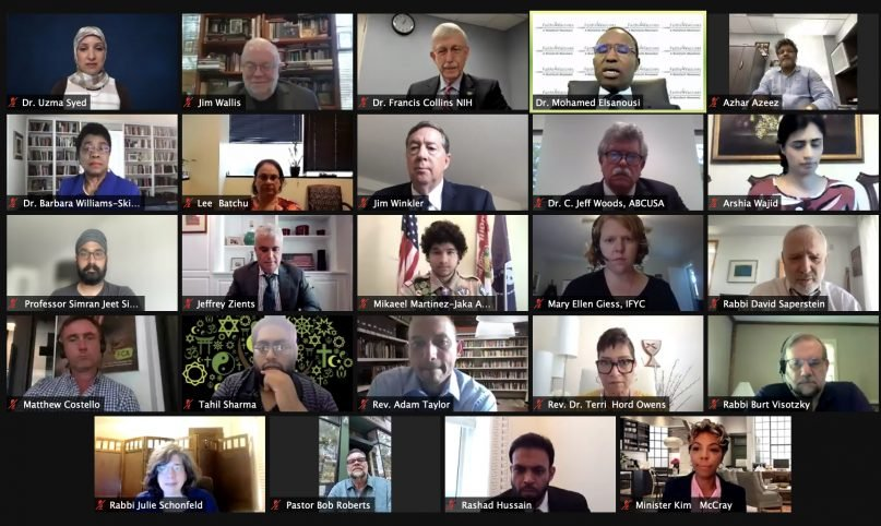 The Faiths 4 Vaccines online summit on Wednesday brought leaders together to talk about how to support vaccine efforts in the U.S. Screen grab from Faiths 4 Vaccines summit