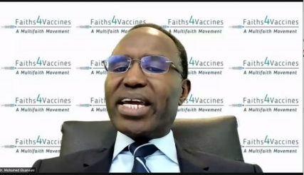 Mohamed Elsanousi of Faiths 4 Vaccines speaks during the online summit. He was one of several to call for collaboration to get more Americans vaccinated. Screen grab of the Faiths 4 Vaccines summit