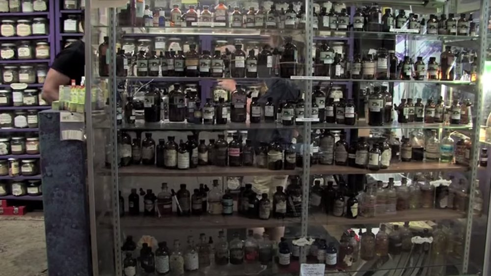 A large collection of herbs and oils for sale at Herbs & Arts in Denver. Video screengrab