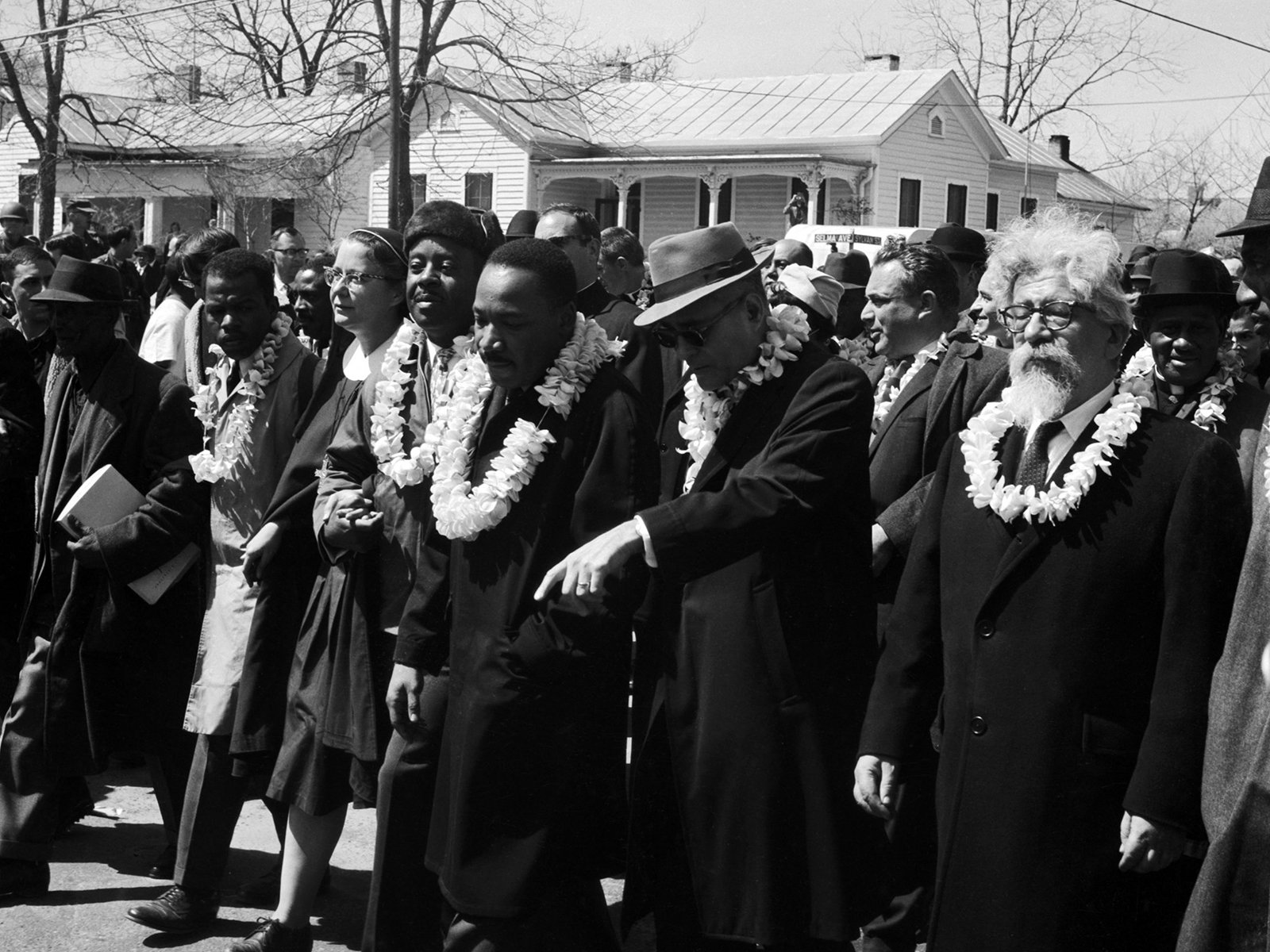 Abraham Joshua Heschel, far right, during the Selma March in 1965. Photo © James Karales