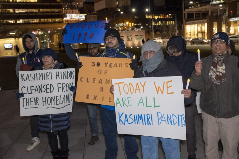 Participants gather for a demonstration on the anniversary of the Kashmiri Pandit exodus.  Image courtesy of the Hindu American Foundation