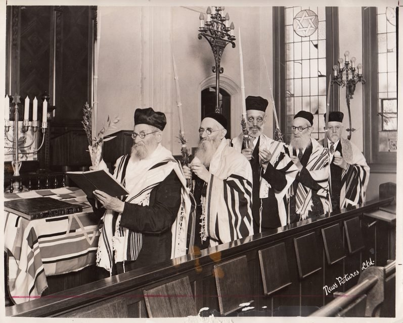 Pious patriarchs, with an average age of 80, carry out a traditional ceremony at the Los Angeles Jewish Home for the Aged in 1940. Photo courtesy of the Jewish Home Archives/UCLA Alan D. Leve Center for Jewish Studies